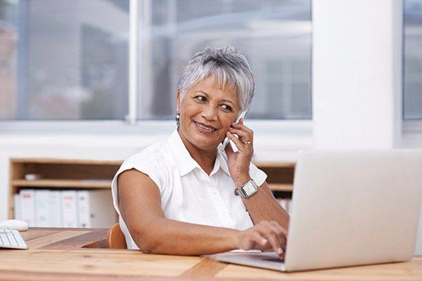 Senior using Computer